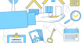 Real estate illustration. Buying or renting a house concept. Man holds house in a hand in exchange for money